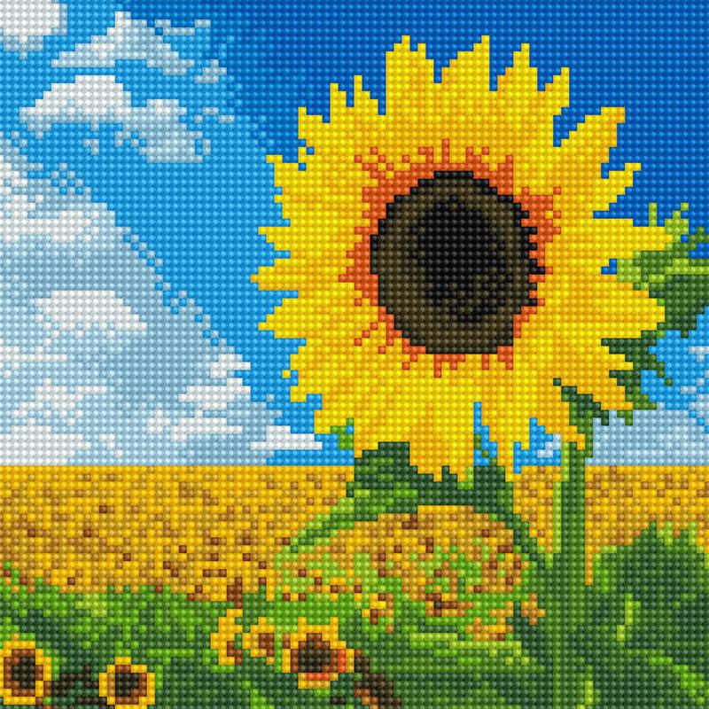 아트조이 DIY 보석십자수 캔버스형 25 x 25 cm, 해바라기 들판, 1세트