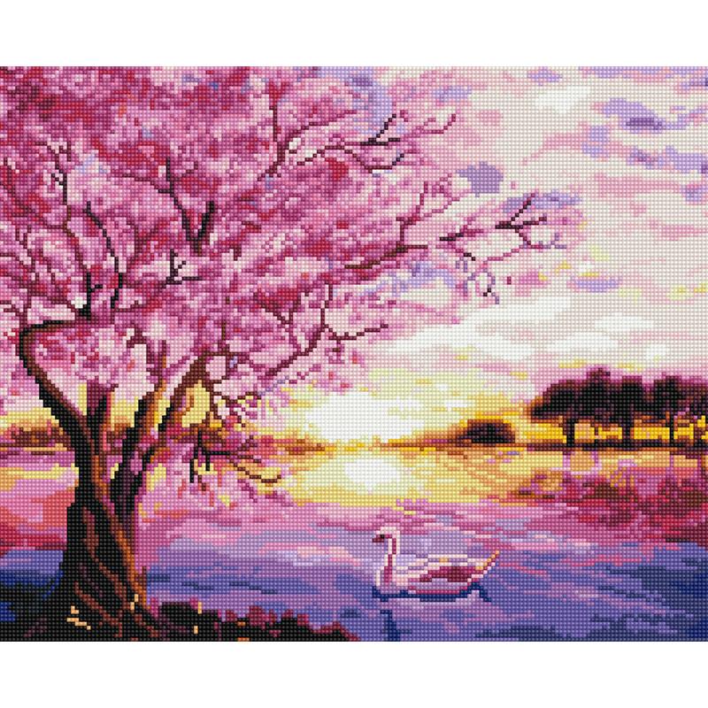 아트조이 DIY 보석 십자수 캔버스형 50 x 40 cm, 벚꽃 호수, 1세트