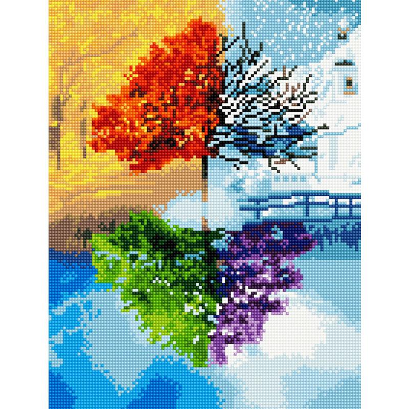 아트조이 DIY 보석십자수 캔버스형 30 x 40 cm, 지혜의 나무, 1세트