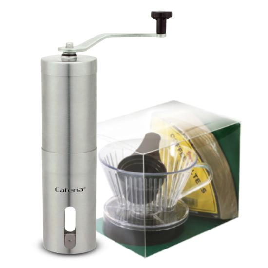 코맥 핸드드립 2종세트 드립키트 A형 + 카페리아 세라닉말 커피밀 스텐원통, 혼합 색상, 1세트