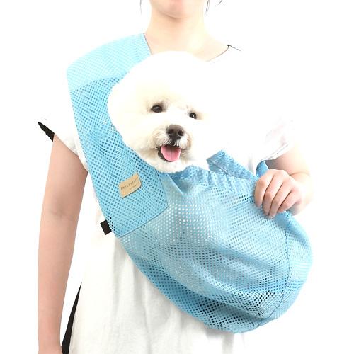 에이미러브즈펫 안아주개 반려동물 슬링백, 매쉬블루