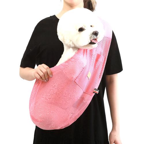 에이미러브즈펫 안아주개 반려동물 슬링백, 매쉬핑크