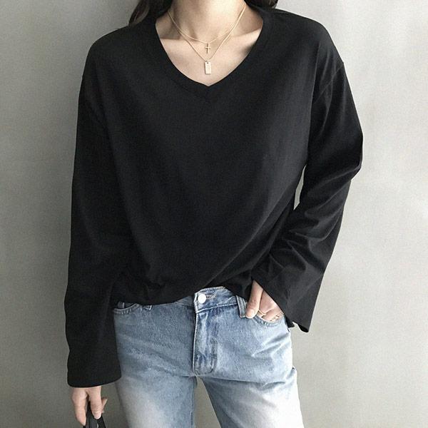 난닝구 여성용 넬로 와이드 브이넥 긴팔 티셔츠