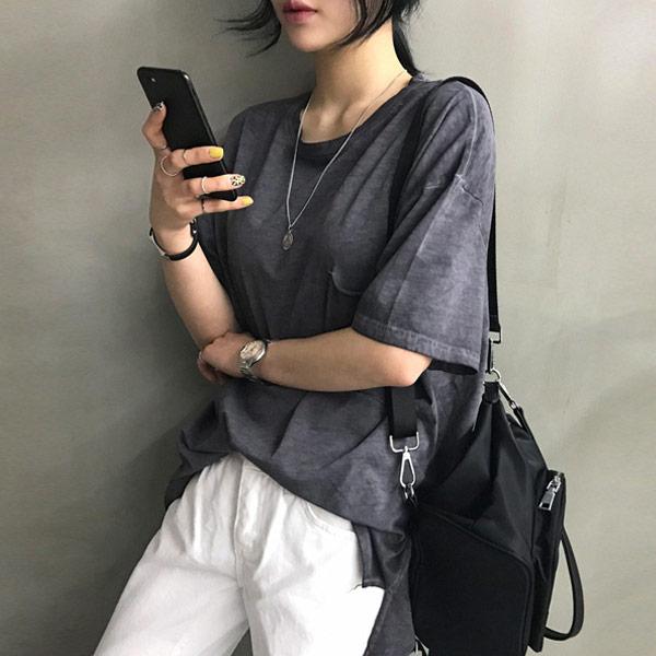 난닝구 여성용 스웬 워싱 포켓 언발 반팔 티셔츠