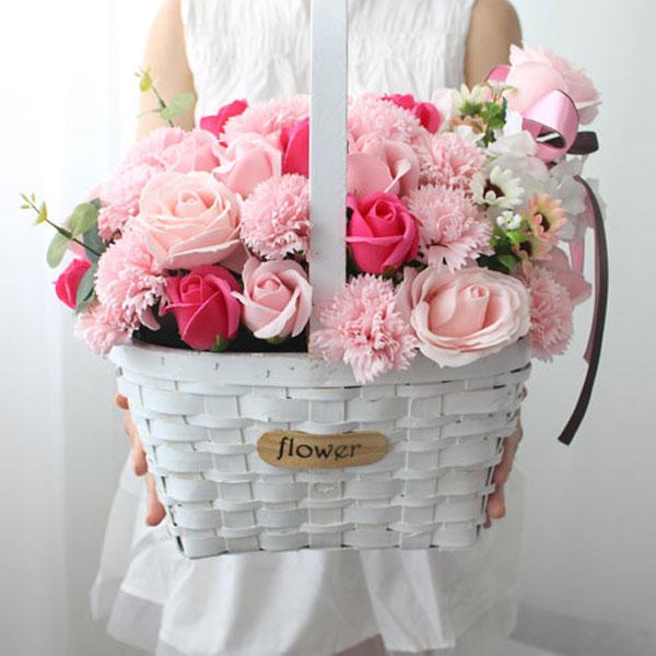 블랙앤화이트 카네이션 비누꽃 50p 꽃바구니, 핑크