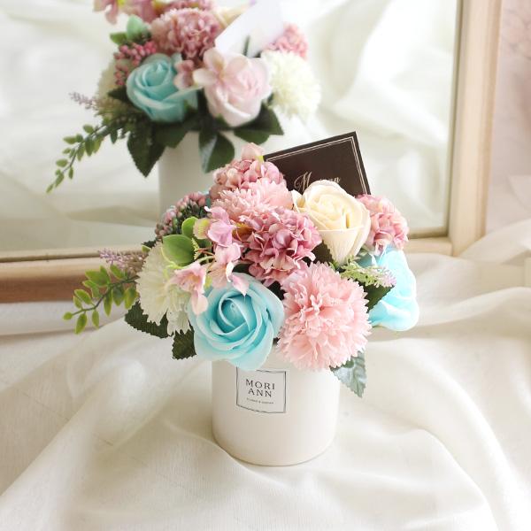 모리앤 비누꽃 샤벳 센터피스 + 땡큐택 + 케이스, 블루, 1세트