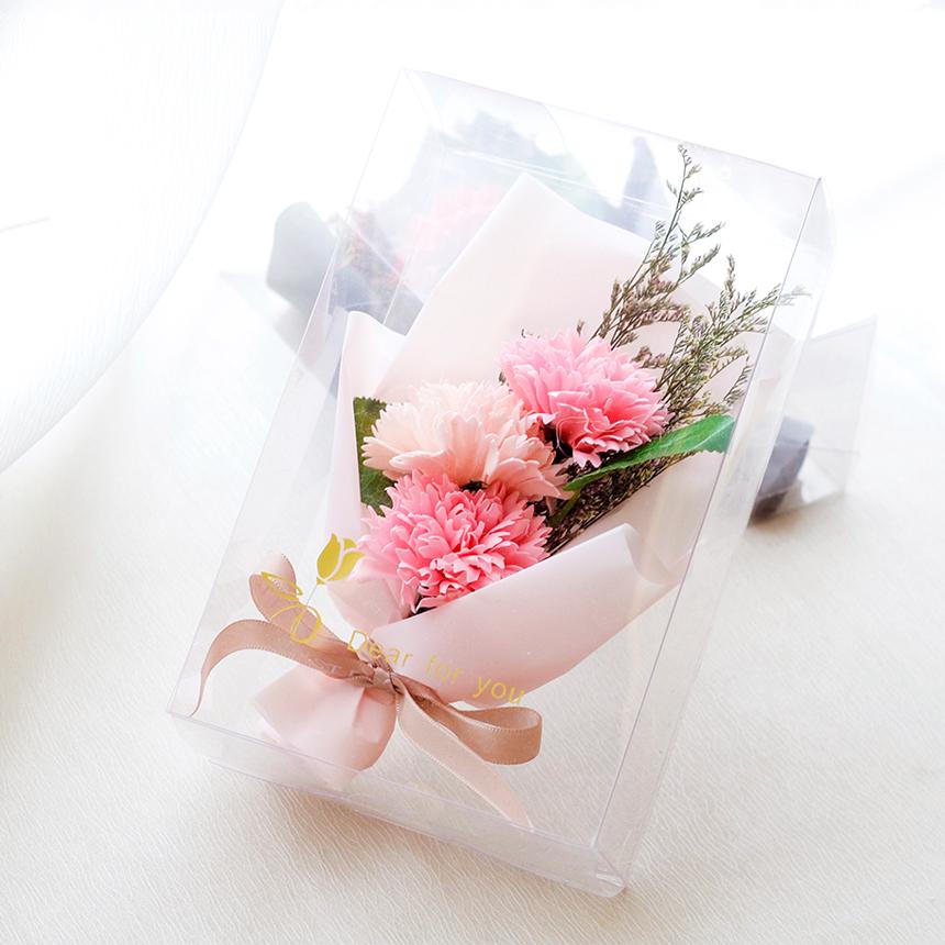 RYMD 조화 3p 카네이션 비누꽃 심플 미니 꽃다발, 핑크