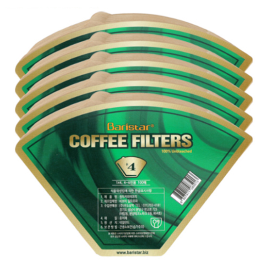 Baristar 커피여과지 4, 100개입, 5개