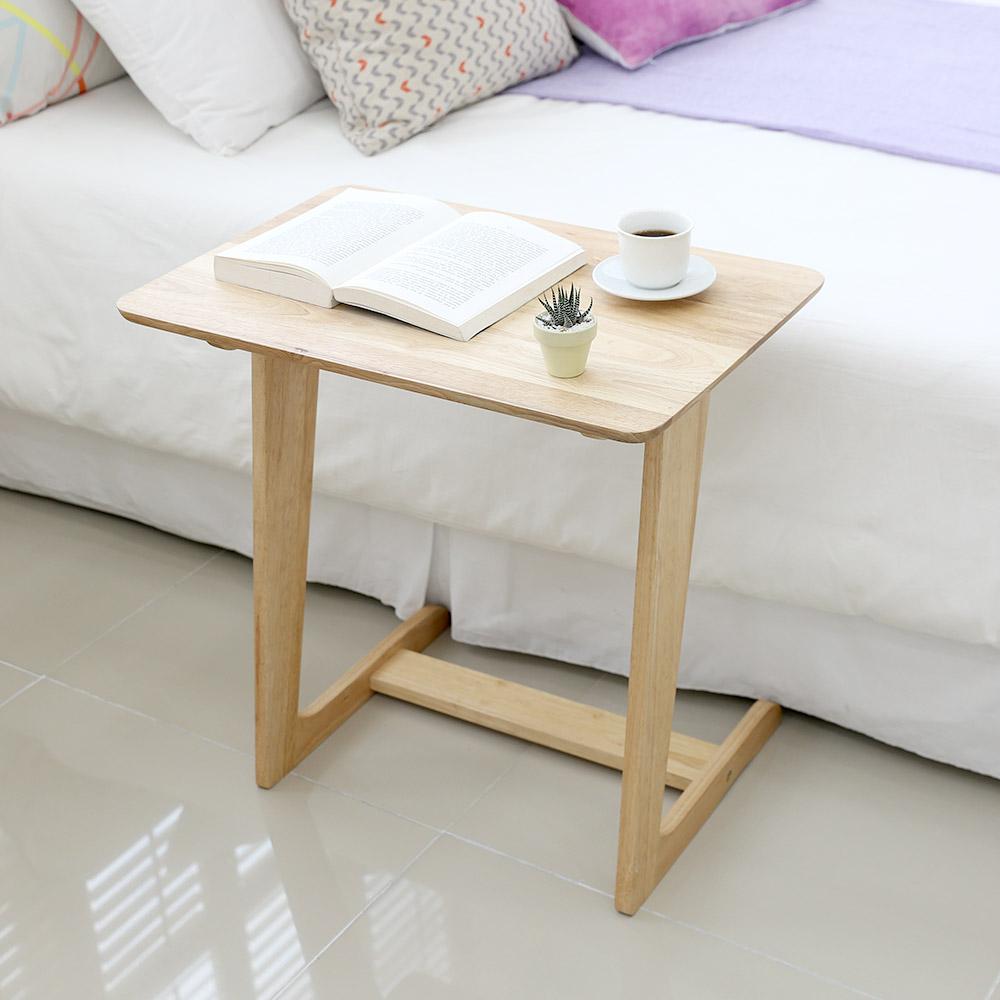 아이엘컴퍼니 고무나무 원목 사이드 테이블, 내추럴