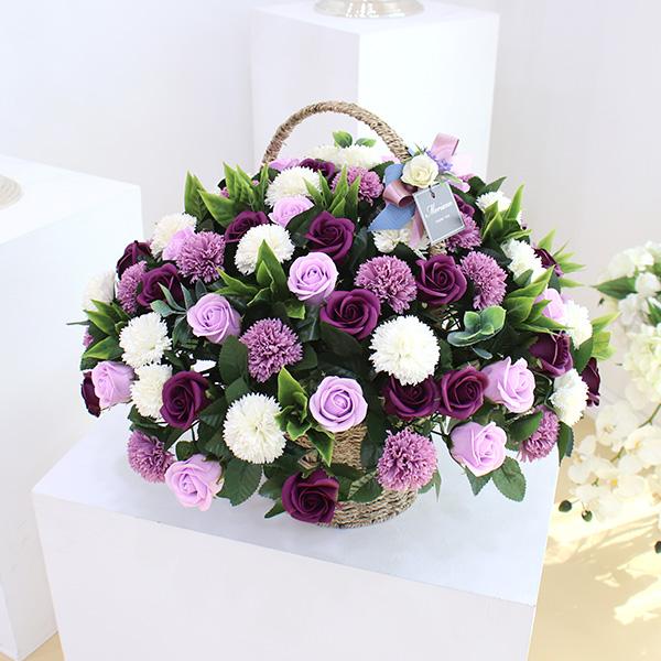 모리앤 비누꽃 100송이 한아름 카네이션 꽃바구니, 퍼플