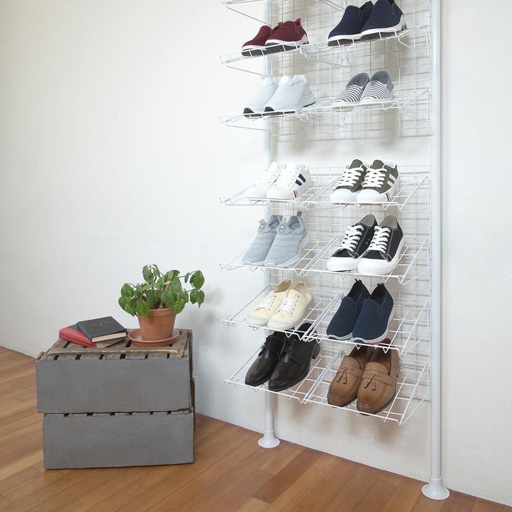 까사마루 매직 천장고정 신발장 16칸 화이트, 1개