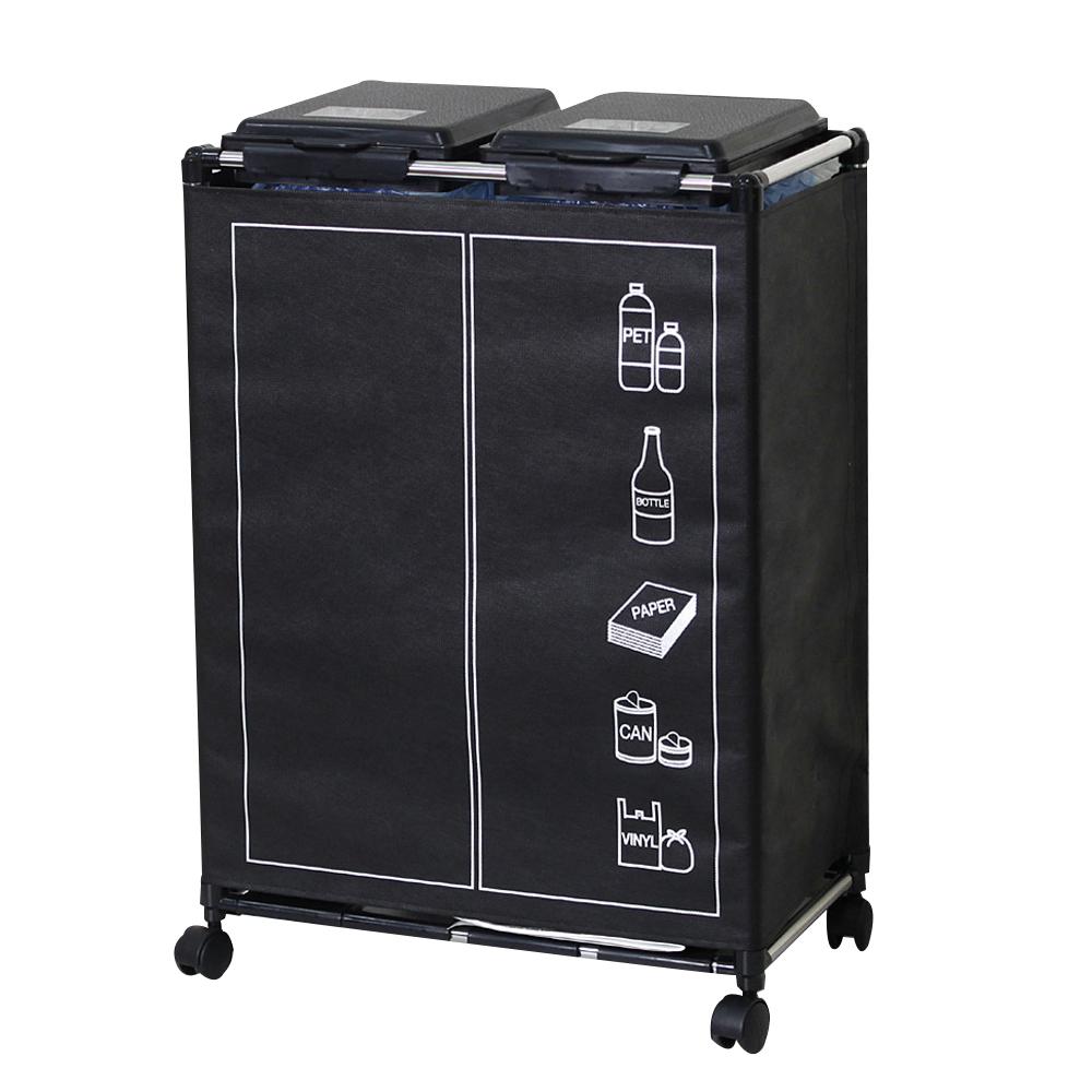 센스2030 분리수거함 2p 1단 + 클린커버 + 비닐봉투 2p + 분리수거스티커 랜덤 발송, 블랙, 1세트