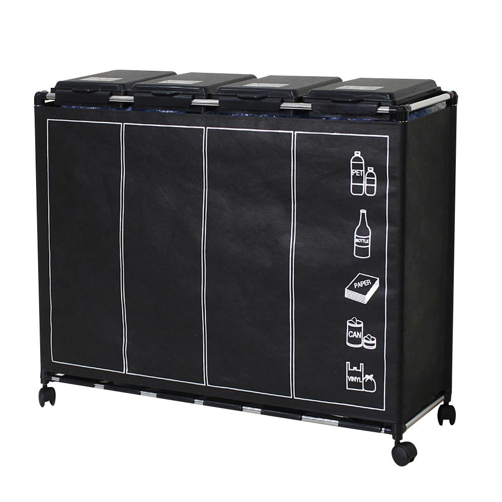 센스2030 분리수거함 4p 1단 + 클린커버 + 비닐봉투 4p + 분리수거스티커 랜덤 발송, 블랙, 1세트