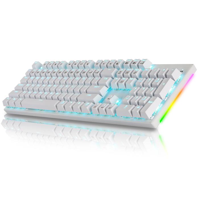 콕스 교체축 사이드 RGB 기계식 게이밍 키보드 갈축, 화이트, CK450