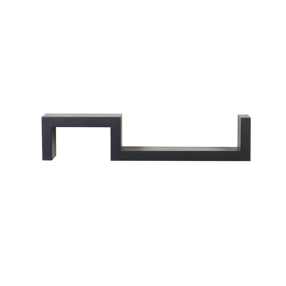 크레디스 우드 곡선 양방향 모던 인테리어 벽선반, 블랙