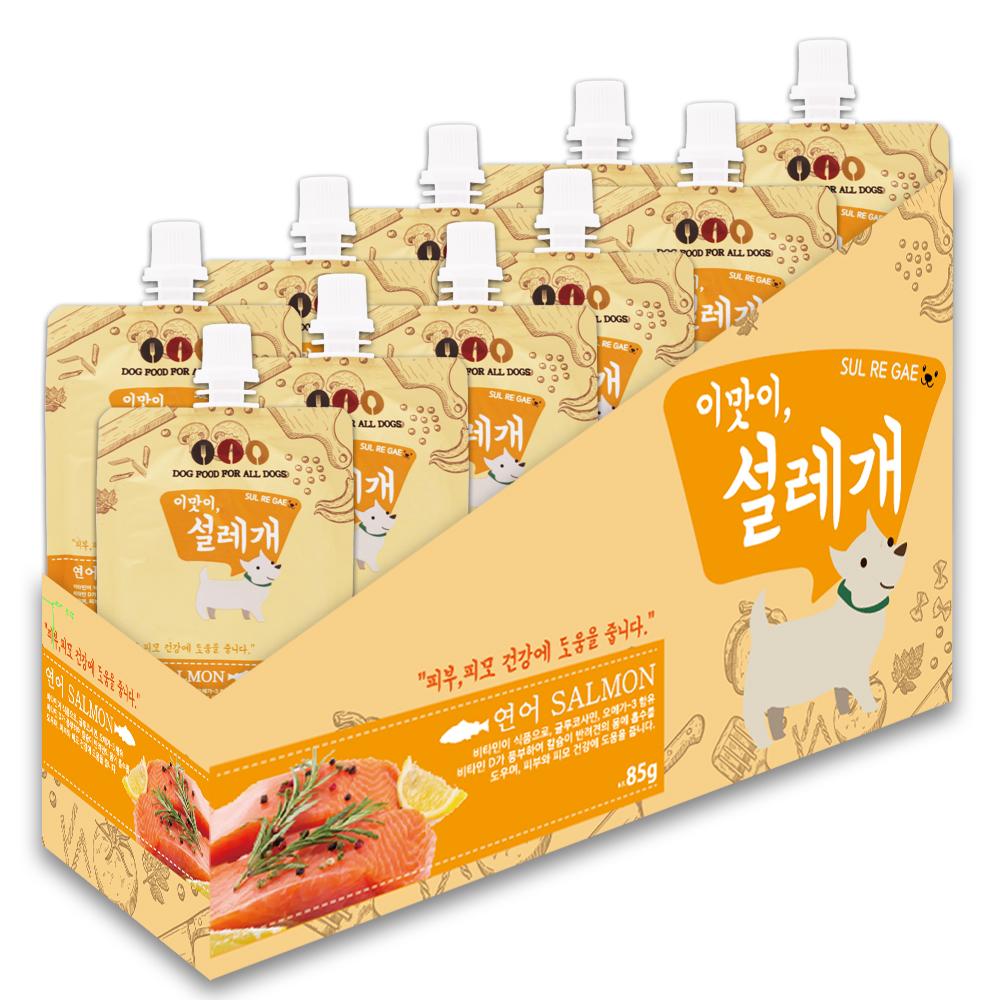 설레개 짜먹는 강아지간식 85g, 연어맛, 10개입