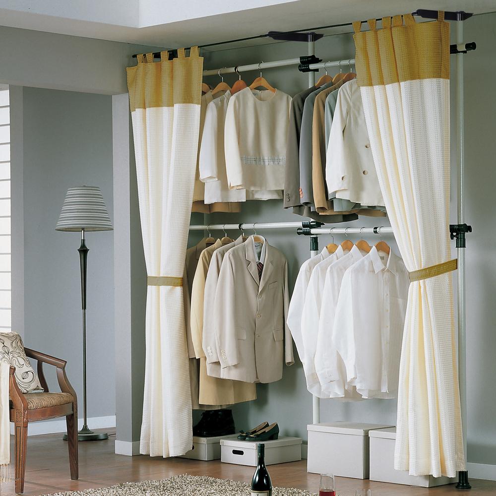 가화홈시스 4단 기본형 드레스룸 더블커튼 행거 LB3400SDC, 기둥(아이보리) + 부품(검정) + 커튼(브라운)
