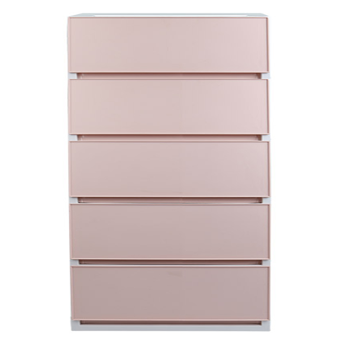 샤바스 컬러스토리 600 와이드 5단 서랍장 + 벽면 고정밴드, 핑크, 1개