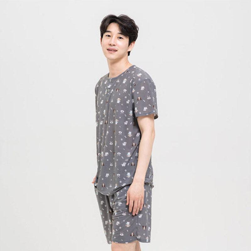 도씨 남성용 네이처마 반팔 잠옷 상하세트