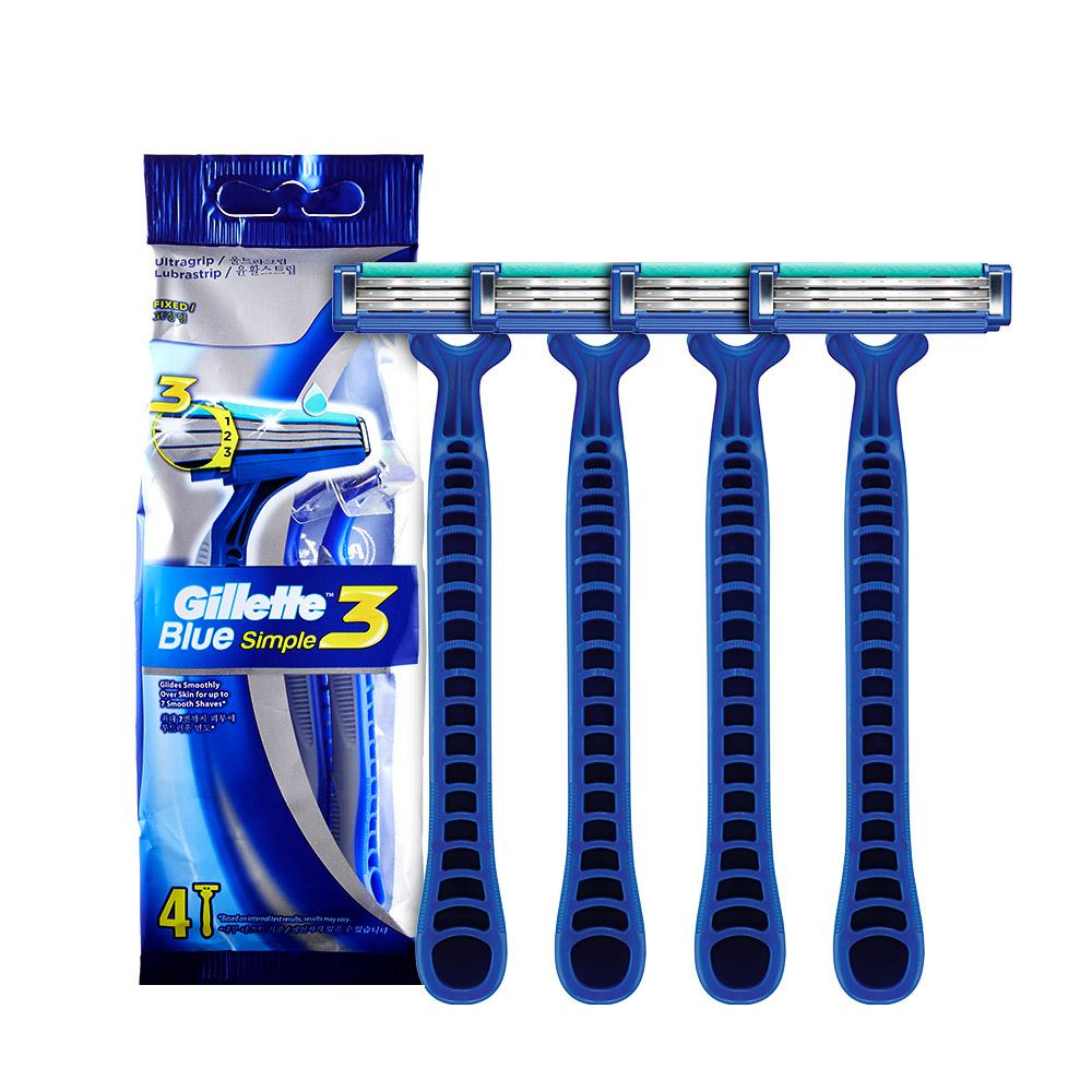 질레트 블루 3 심플 일회용 면도기, 4개입, 1개-7-205936504