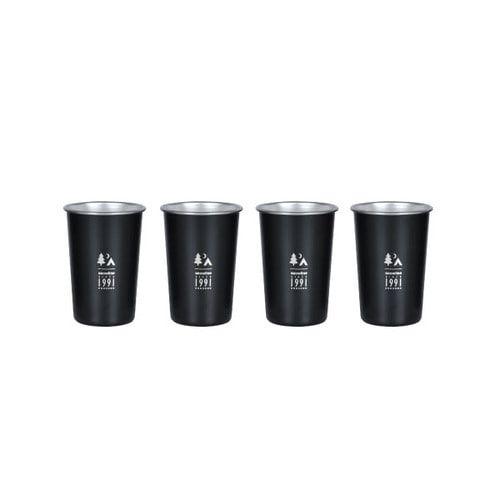 스노우라인 맥주잔 4p 세트, 블랙, 1세트