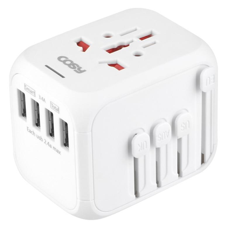 코시 투어 USB4포트 여행용 아답터 TA3371U, 1개