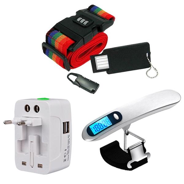 이노타임 칼마 3종세트 가방 벨트락 잠금장치 + 만능 멀티 충전 USB 2포트 어댑터 + 디지털 휴대용 손 저울, 1세트