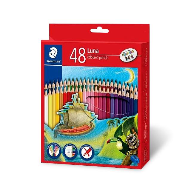 스테들러 루나색연필 지함 + 연필깎이 세트, 48색