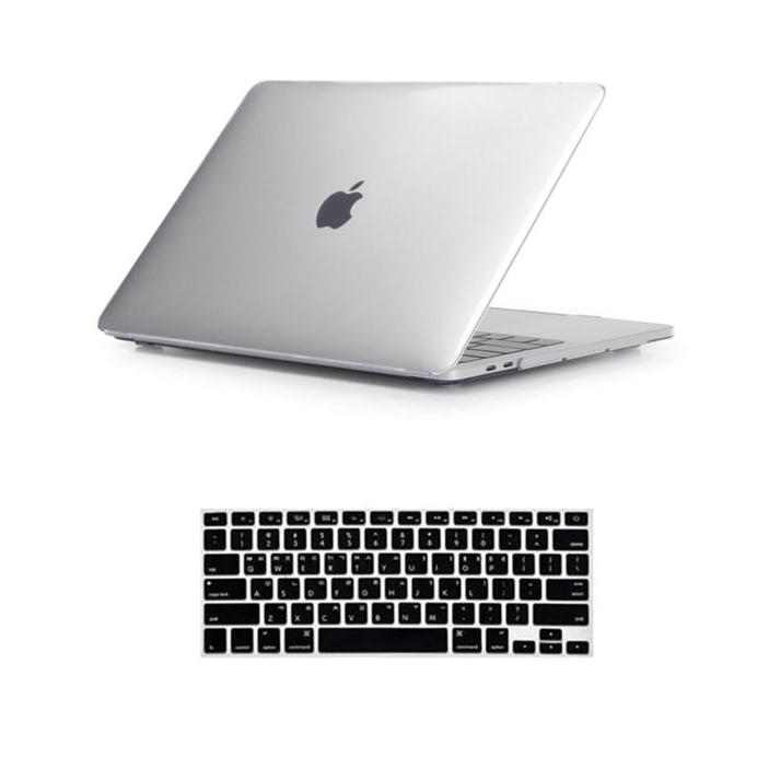 뉴비아 맥북용 키스킨 블랙 + 크리스탈 하드케이스 투명 맥북에어13 A1466, 혼합 색상, 1세트