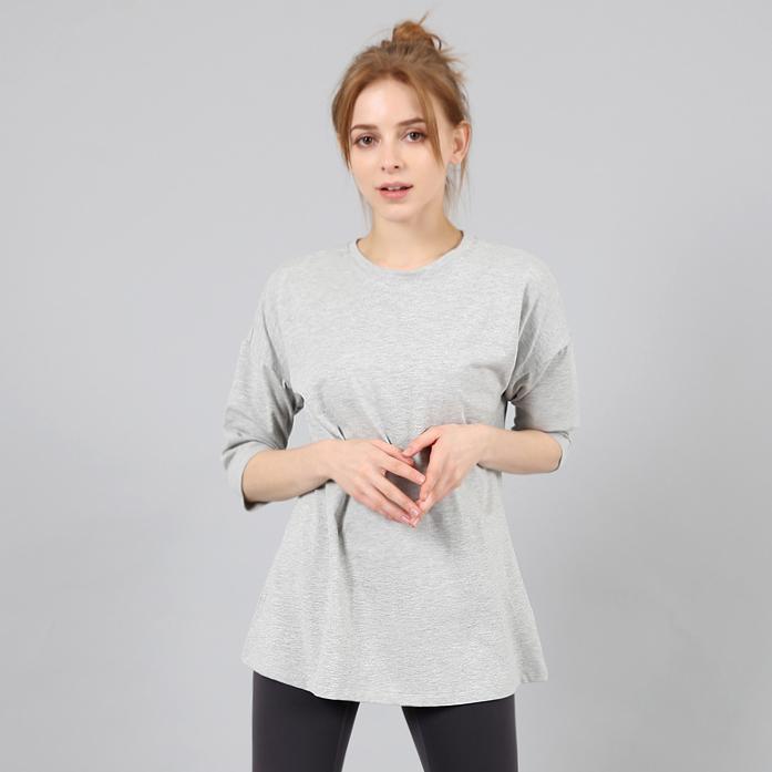 리나라인 여성용 박시 칠부 롱 요가복 티셔츠 LS12