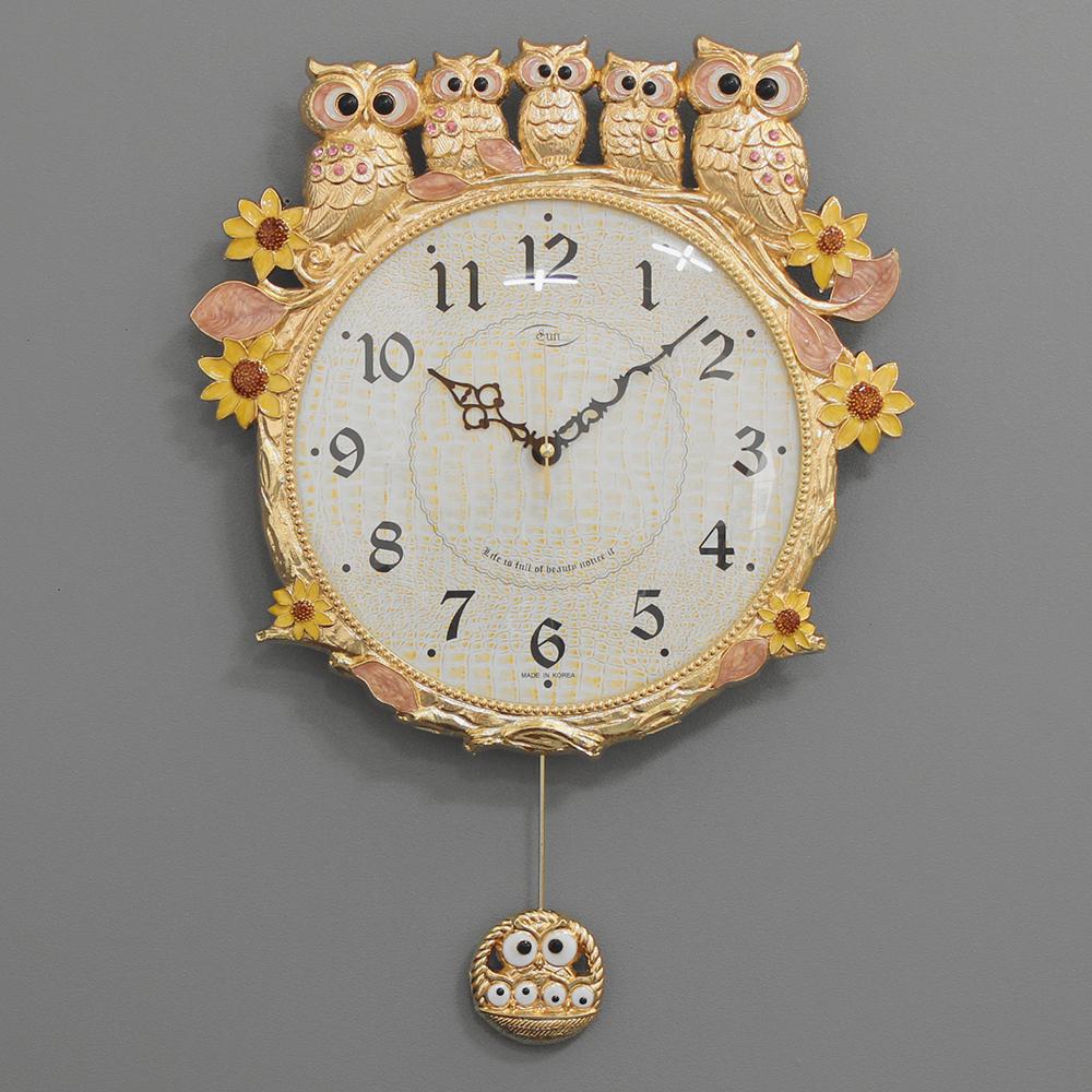 키다리시계 저소음 해바라기부엉이시계, 금핑크