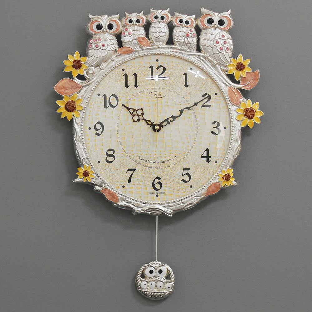 키다리시계 저소음 해바라기부엉이시계, 은핑크