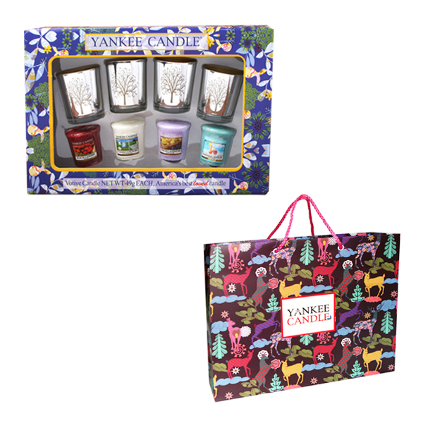 양키캔들 보티브4p 랜덤발송 + 실버나무 골드홀더4 캔들 선물세트 + 쇼핑백