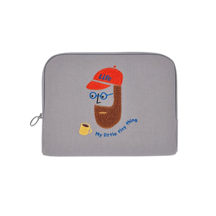 안테나샵 아이패드 파우치 방수캔버스, 부클 비어드맨, 27 x 20 x 2 cm