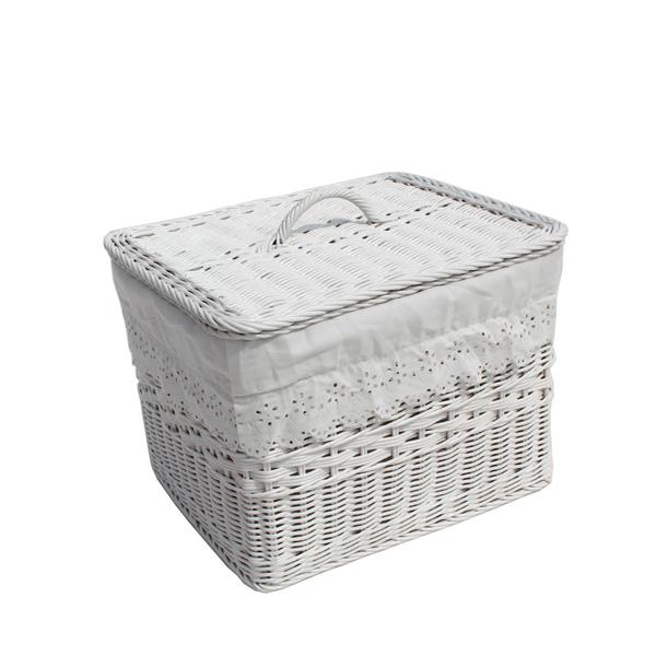 라탄샵 직사각 뚜껑 바구니 B603, 화이트