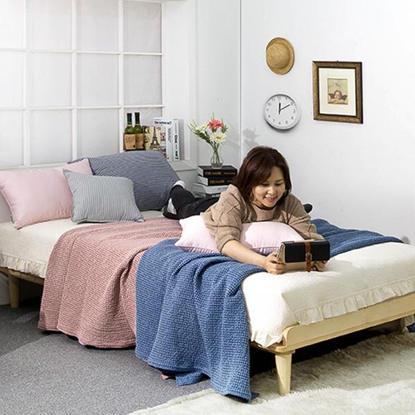 에보니아 파인 스프러스원목 평상형 침대 프레임 + 원추다리, 내추럴