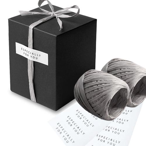 인디고샵 모던 선물상자 3호 15p + 라피아끈 2p + 라벨스티커 20p, 블랙, 1세트