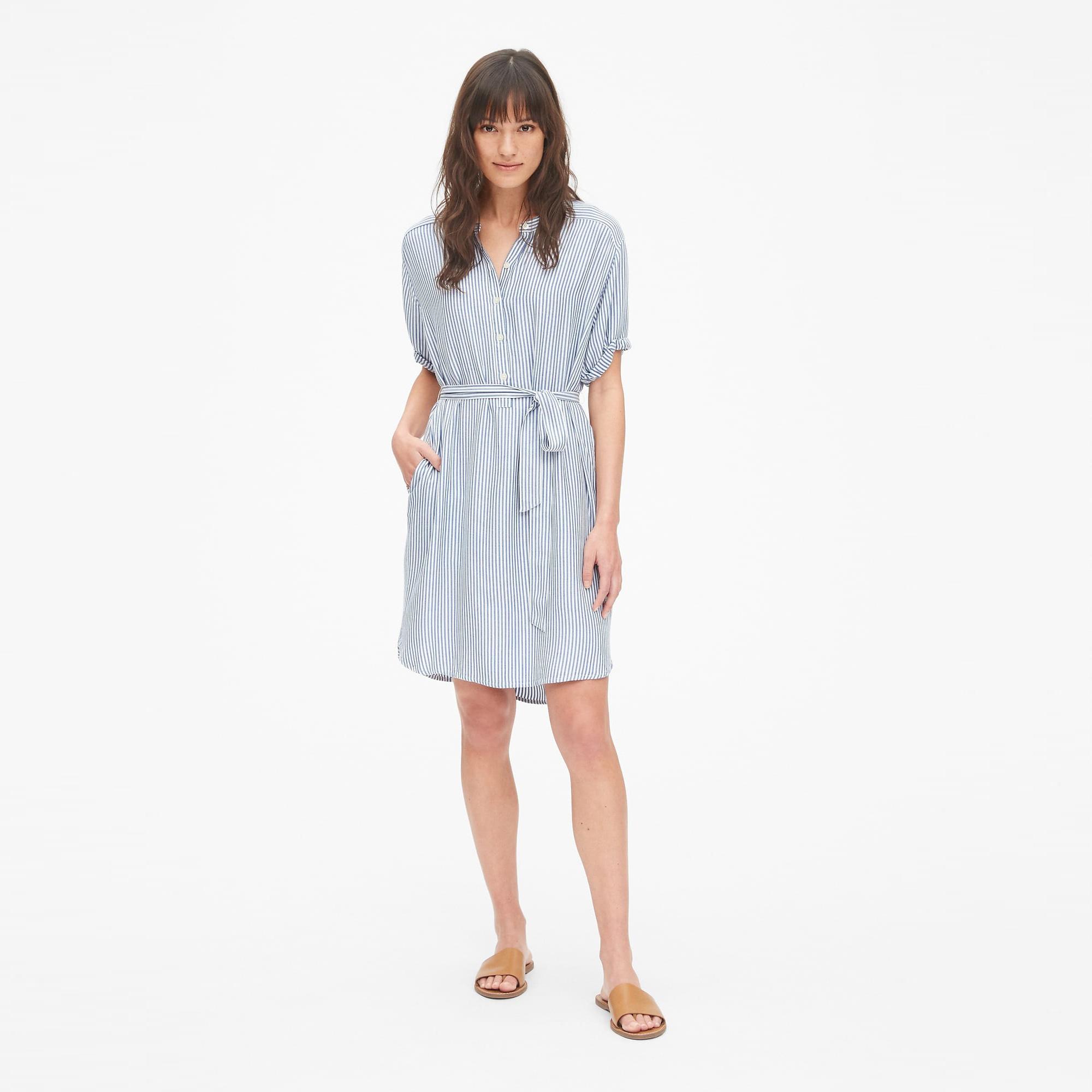 갭 여성용 퍼펙트 롤 슬리브 스트라이프 셔츠 드레스