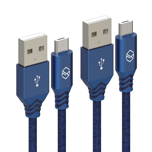 신지모루 더치 패브릭 5핀 고속충전 케이블 1m, 블루, 2개입
