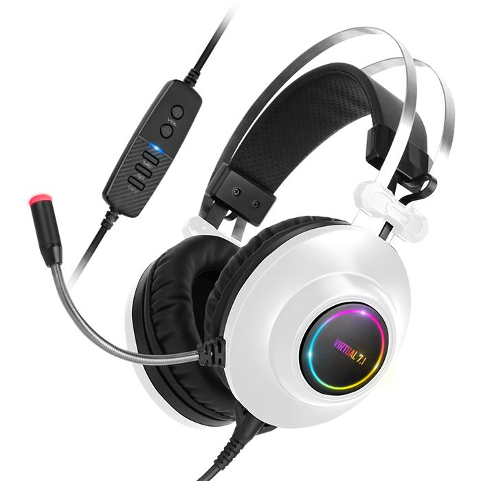 앱코 HACKER 가상 7.1 RGB 진동 노이즈 캔슬링 마이크 3D 초경량 게이밍 헤드셋, N550 ENC, 화이트