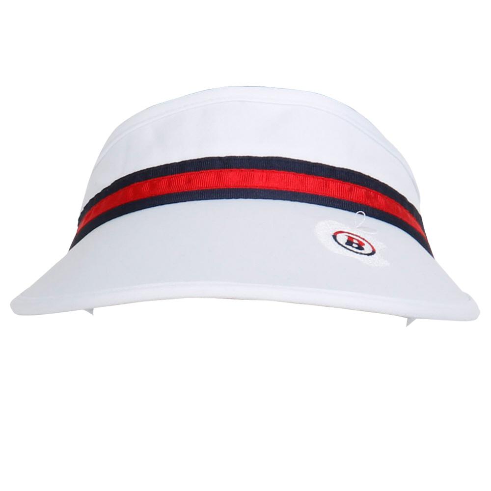 비엠유골프 여성용 라인 테이프 모자 HABU3009, 화이트