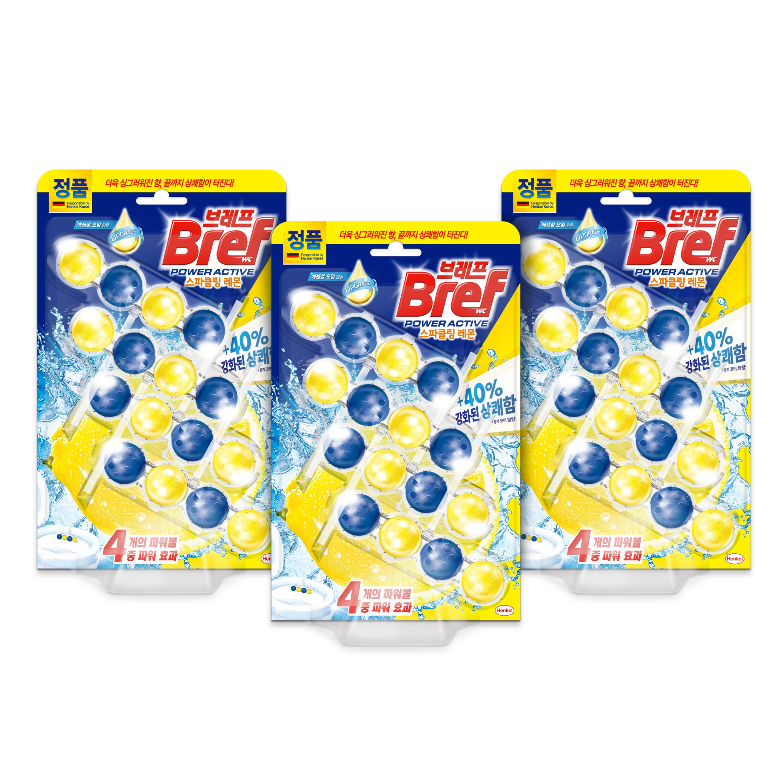 브레프 파워 액티브 변기세정제 레몬향 4p, 3개