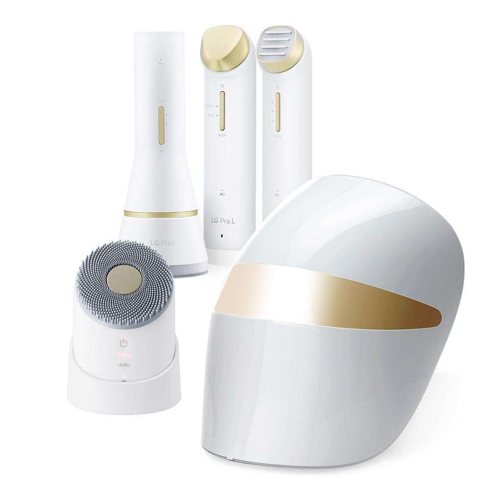 프라엘 화이트V 풀패키지 초음파 피부마사지기 5종 풀세트, PRALU5S2V, 화이트 골드