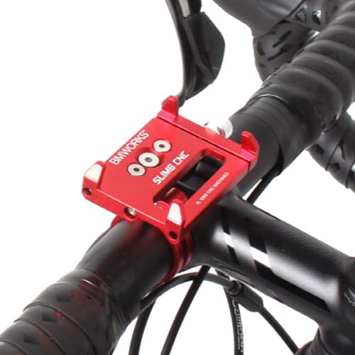 비엠웍스 슬림6 CNC 스마트폰 자전거 거치대, 레드, 1세트