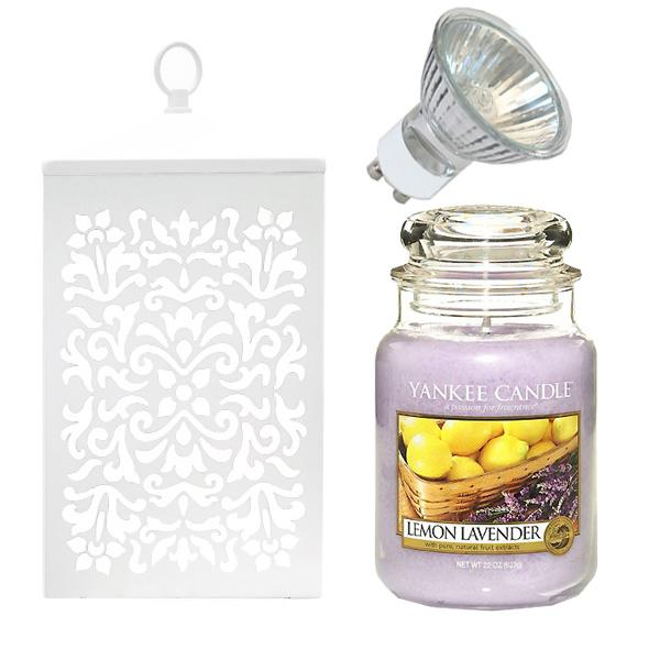 미트라샵 빛조절캔들워머 + 캔들 레몬라벤더 + 전구 랜덤 발송, 화이트