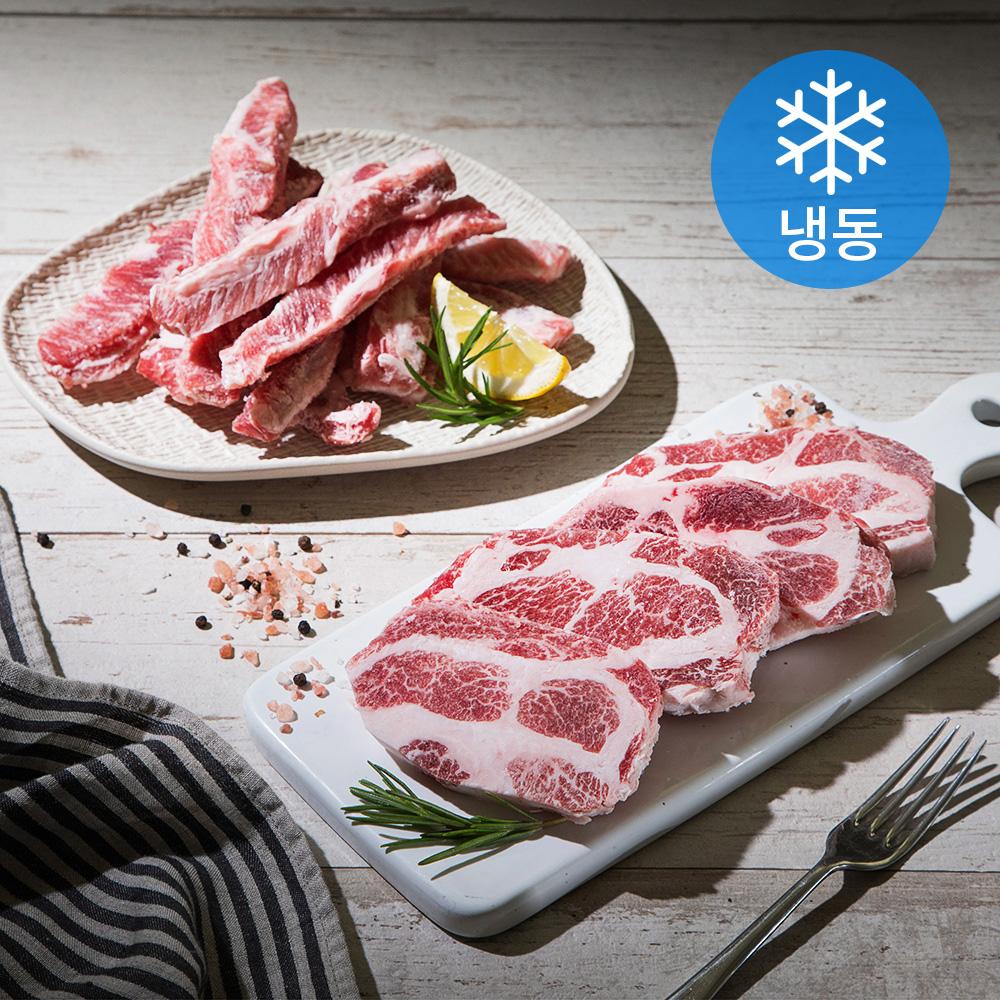6다이닝 이베리코 돼지고기 목살 300g + 갈비살 300g (냉동), 1세트