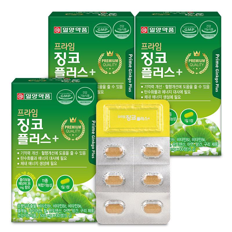 일양약품 프라임 징코 플러스, 30정, 3개