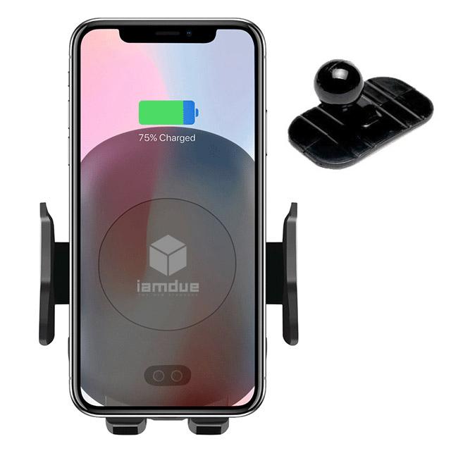 아이엠듀 차량용 무선충전 휴대폰 거치대 주피터 NC10 + 미니크래들, 혼합 색상, 1세트