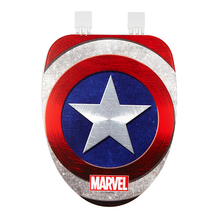마블 캡틴아메리카 슬림 하드형 변기커버 O형, 혼합 색상, 1개