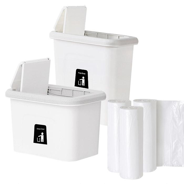 모던데일 걸이형 음식물 쓰레기통 2p + 비닐봉투 90p, 화이트